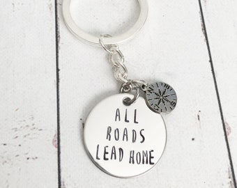 All Roads Lead Home Compass Hometown Stamped Keychain - Long Distance Gift - Long Distance Keychain - Hometown Keychain - Compass Keychain