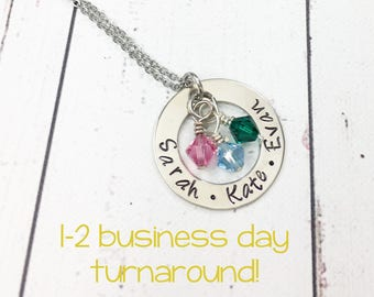 Personalized Hand Stamped Mom Necklace with Kids Names - Gift for Mom -Mothers Necklace -Grandma Necklace -Mom Jewelry -Mothers Day Necklace