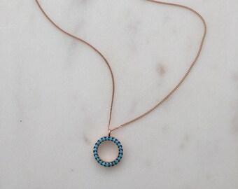 Rose Gold Turquoise 'O' Pendant