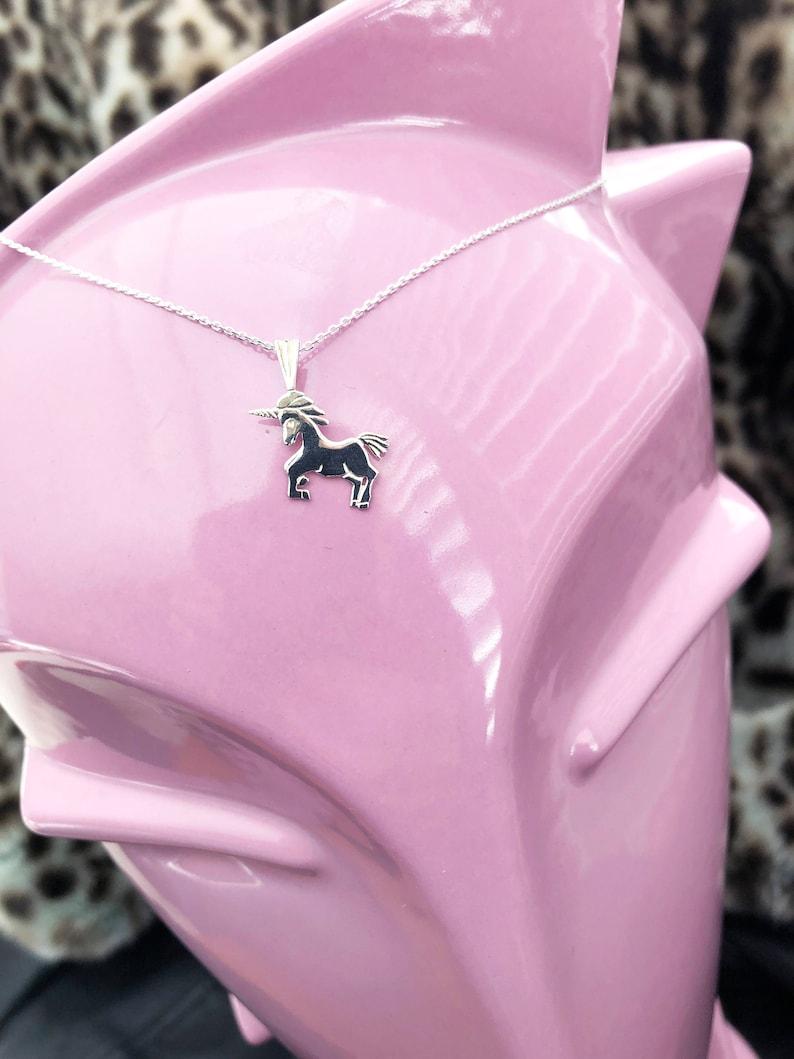 Silver Unicorn Charm Pendant with Chain