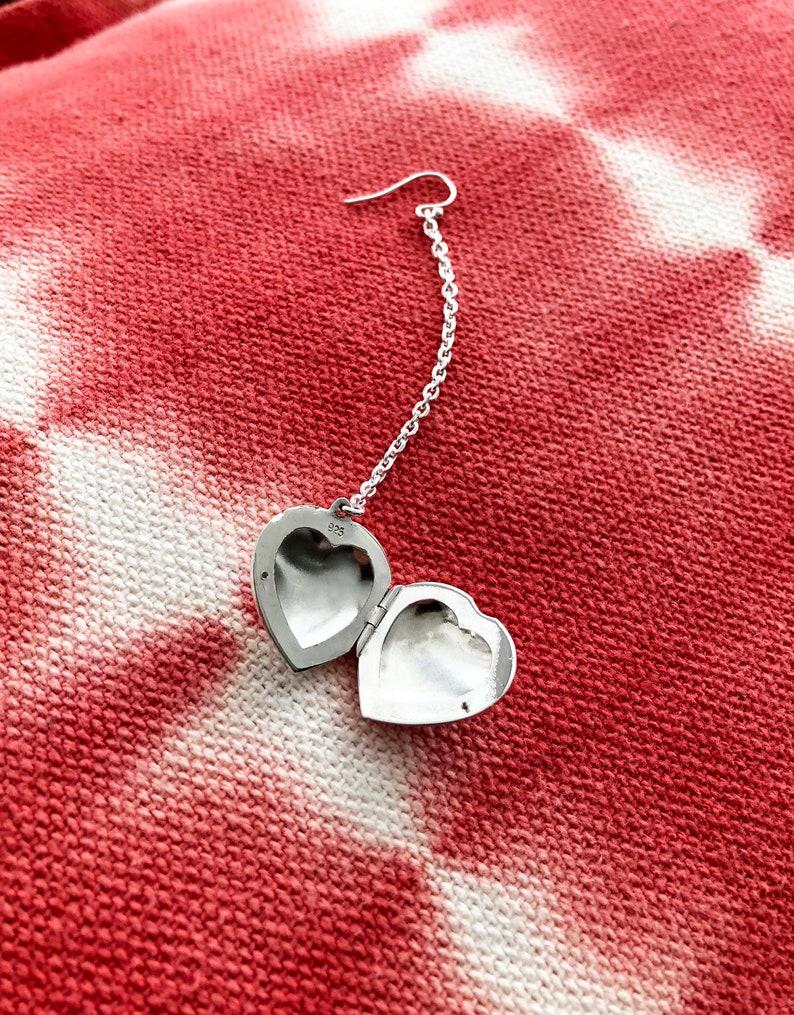 Single Silver Heart Locket and Chain Earring