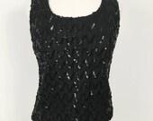 1960s black Sequin Tank Top with Metal Zipper Closure - Handmade Vintage - Vegan - Small