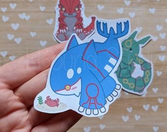 6c91e6693f9 Chibi Kyogre Groudon Rayquaza Stickers and Magnets