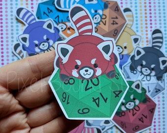 05c13de62a Chibi Red Panda on d20 Stickers and Magnets