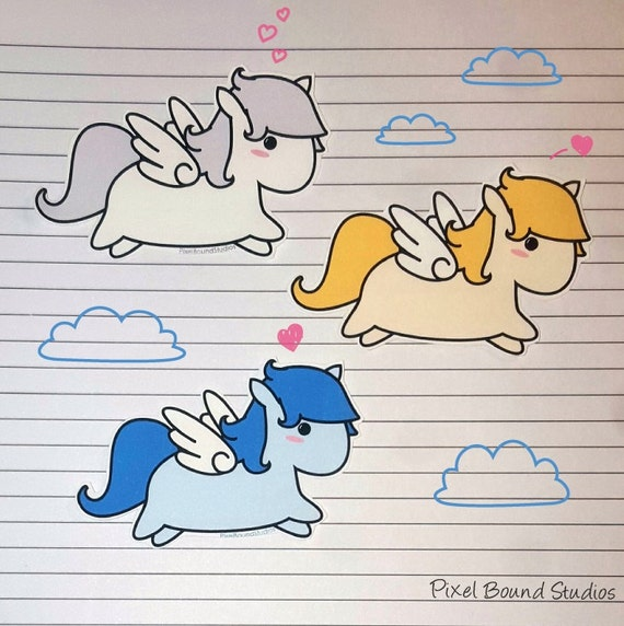 chibi pegasus stickers and magnets etsy