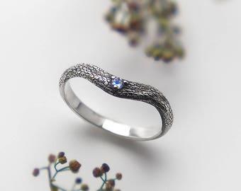 Dragon Scale Ring, Curve Wedding Band Women, Moonstone Ring, Engagement Ring, Gemstone