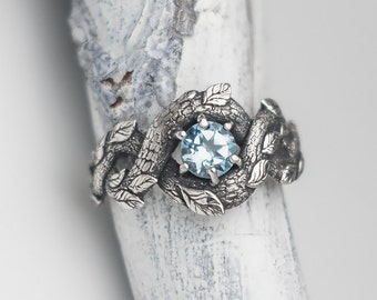 Blue Dragon Ring, Nature Inspired Engagement Ring, Wedding Ring with Topaz, Braided Ring, Mermaid Jewelry, Dragon Scale Ring for Women