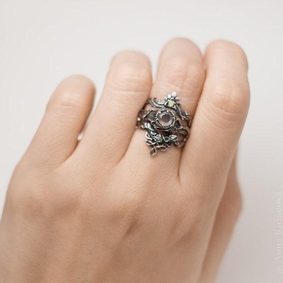 Boho Engagement Ring Set Bohemian Wedding Ring With Opal And Etsy