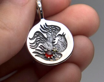 Phoenix Pendant, Fire Bird Necklace, Gemstone Jewelry, Garnet or Green Onyx Cabochon
