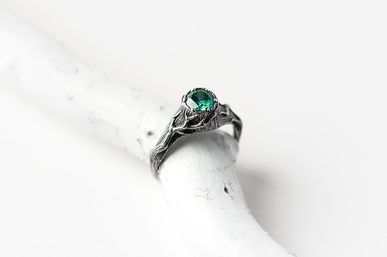 Emerald Ring Engagement Ring with Tree and Twigs Witch Ring image 1