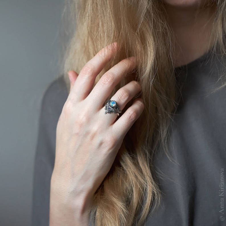 Fire Opal Ring Pagan Promise Ring Tree Stump Ring Rustic Engagement Ring Opal Engagement Ring Rustic Ring for Woman Opal Jewelry