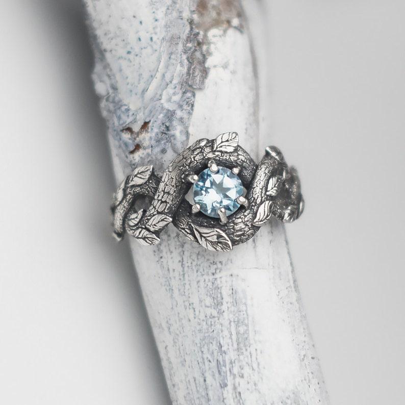 Blue Dragon Ring Nature Inspired Engagement Ring Wedding image 0