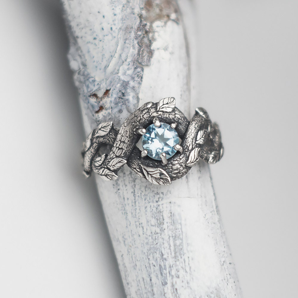 Blue Dragon Ring Nature Inspired Engagement Ring Wedding Etsy