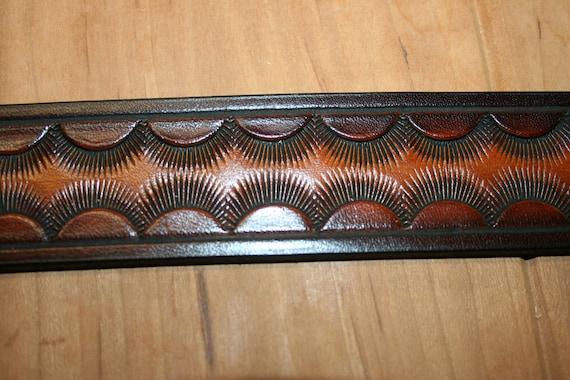 Hand Made Tooled Leather Belt 15 Wide Sunburst