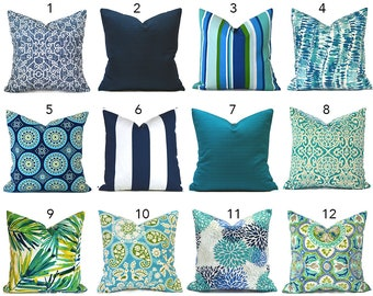 Outdoor Pillow Covers Decorative Home Decor Navy Blue Turquoise Designer Throw Pillow Covers You Choose Outdoor