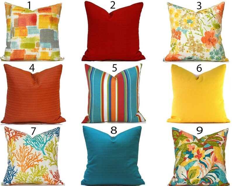 Outdoor Pillow Covers ANY SIZE Decorative Home Decor Burnt image 0