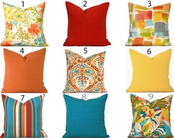 Outdoor Pillow Covers Decorative Home Decor Red Orange Turquoise Designer Throw Pillows You Choose Outdoor