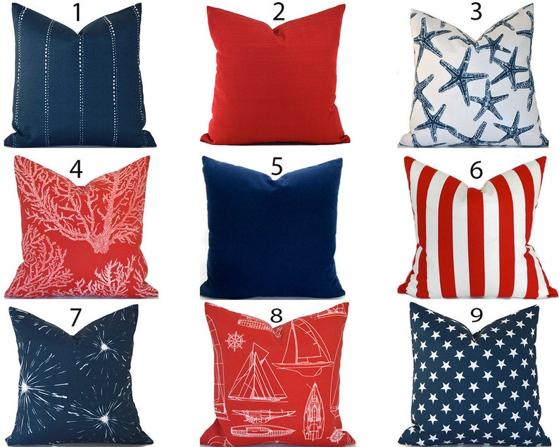 Outdoor Pillow Covers ANY SIZE Decorative Home Decor Red White image 0