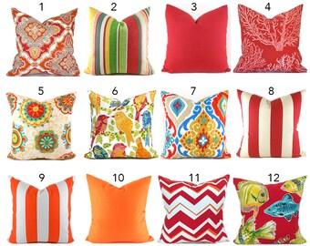 Outdoor Pillows Outdoor Pillow Covers Decorative Pillows ANY SIZE Pillow Cover Red Pillows Orange You Choose