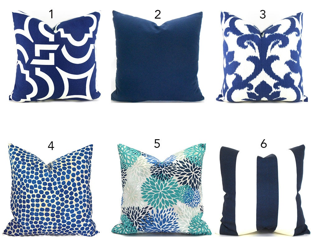 Home Decorators Outdoor Cushions: Outdoor Pillow Covers ANY SIZE Home Decor Navy Blue