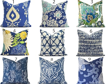 Decorative Pillow Covers ANY SIZE Navy Pillow Cover Indigo Blue Pillows You Choose
