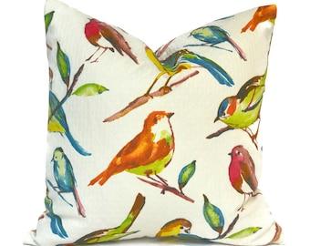 Outdoor Pillow Covers Decorative Home Decor Red Orange Designer Bird Throw Pillow Covers Bluebird Fiesta