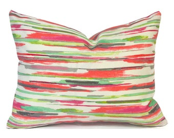 """CLEARANCE 16""""x12"""" Lumbar Pillow Cover Decorative Pillow Outdoor Cover All Lined Up Coral"""