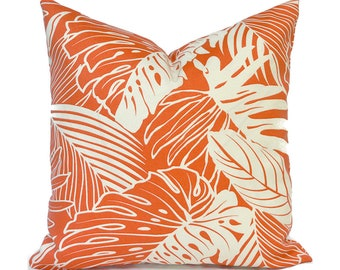 Outdoor Pillow Covers Decorative Home Decor Coral leaf Designer Throw Pillow Covers Leaf Reef Tangerine