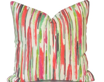 Outdoor Pillow Covers Decorative Home Decor Pillow Cover Pink Stripe All Lined Up Coral