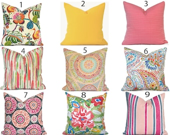Outdoor Pillow Covers Decorative Home Decor Pink and Yellow Outdoor Designer Throw Pillow Covers You Choose