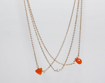 Delicate 14K Gold Fill Chain and Tiny Orange Carnelian / Freshwater Pearl Drop Necklace, Gold Necklace, Gift for Her, Birthstone Necklace