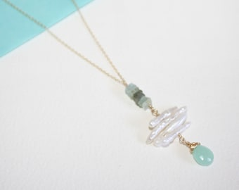 Peruvian Chalcedony, Aquamarine and White Stick Pearls Dainty 14K Gold Fill Necklace, delicate 14K Gold Fill Chain, Jewelry in 14k Gold Fill