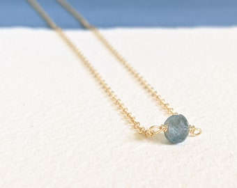 Delicate 14K Gold Fill Chain and Rare Green Blue Moss Aquamarine Necklace, Gold Necklace, Gift for Her, March Birthstone, Natural Gemstone