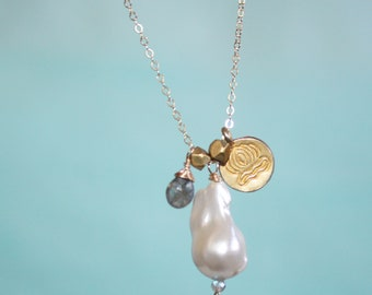 White Baroque Pearl, Labradorite Drop, Vermeil Lotus Charm, Faceted Thai Beads Dainty 14K Gold Fill Necklace, Everyday Gold Fill Chain