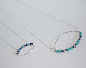 Sterling Silver Marquise, Lapis Lazuli, Turquoise & Thai Fine Silver Faceted Beads Sterling Silver Necklace, November Birthstone, December