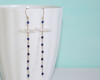 Lapis Lazuli and Freshwater Stick Pearl 14K Gold Fill Drop Earrings by Kaya Jewelry, gifts for her, November Birthstone Jewelry