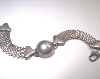 Vintage Sterling Silver Mesh Flexible Bracelet Solid Silver Art Deco Influenced Design