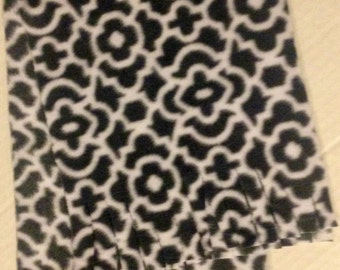 """Gray and White Fleece Scarf - 8"""" wide X 60"""" wide"""