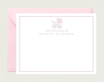 Personalized Baby Shower Thank You Cards for Girls | Baby Thank You Cards for Boys | Baby Stationery | Baby Stationary | Carriage BS-3110