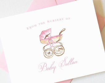 Pink Baby Shower Thank You Cards Girl | Baby Shower Thank You Cards Boy | Baby Shower Gift Girl | Baby Note Cards BS-3111 FOLD
