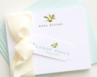 Personalized Stationery | Personalized Stationary | Botanical Note Cards | Lemon Notecards | Corporate Gifts | Thank You Cards AS-1601