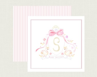 Baby Swan Monogram Calling Cards | Baby Girl Calling Cards | Baby Gift Tags | Baby Calling Cards | Personalized Baby Shower Gift Tags