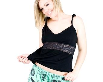 Lace Camisole Top Black Lingerie Sexy Pajamas Organic Sleepwear Women's Cami Top Spaghetti Straps