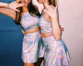 Halloween Alien COSTUME SET Holographic Skirt and Top Set Sexy Outer Space Costume Cute Unicorn Costume