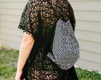 Festival Backpack Drawstring Backpack Black and White Bag Hands Free Bags Sequin Backpack Cute Gym Backpack