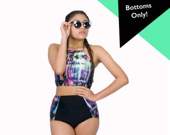 Retro Swimsuit High Waist Bikini Bottoms Pinup Beach Wear Black and Purple Bathing Suit