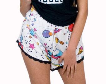 Pajama Shorts High Waist Teddy PJ Bottoms Elastic Waist Sleepwear Lace Trim Space Print Soft Jersey
