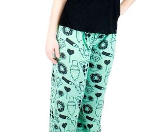 Unicorn Pajamas Green Fleece PJ Pants Elastic Waist Sleepwear Flannel Pyjamas Gifts for Girls OOAK