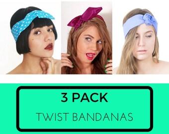 3 pack Bandanas, Twist attache rubans, No Slip bandeau, faire Rag Bandana, bandeau de coton imprimé, Cute accessoires pour cheveux / / Choisissez votre lot de 3