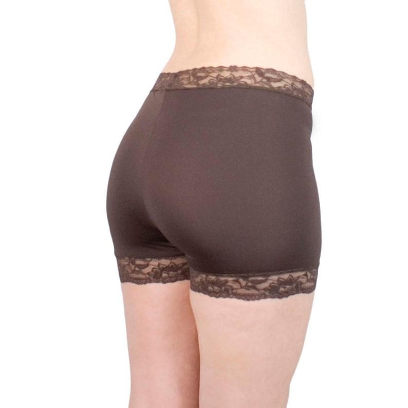 Lace Tap Pants Brown Skimmies Nylon Biker Shorts Basic Modesty Shorts Under Skirt Shorties